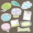 Cute speech bubbles scrapbook elements in vector
