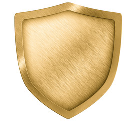 golden metal shield or crest isolated on white