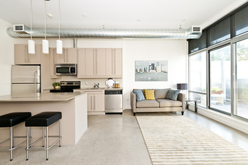 Modern condo kitchen and living room