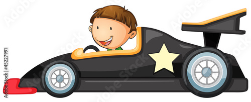 Plexiglas Cars a boy driving a car
