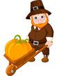 Cute pilgrim with wheelbarrow