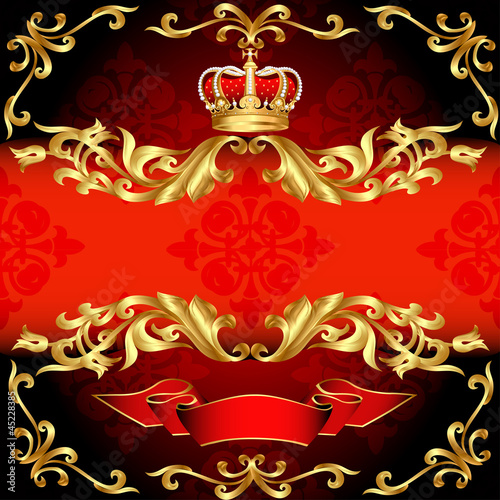 red background frame gold pattern and corona