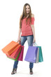 Full length casual woman with shopping bag