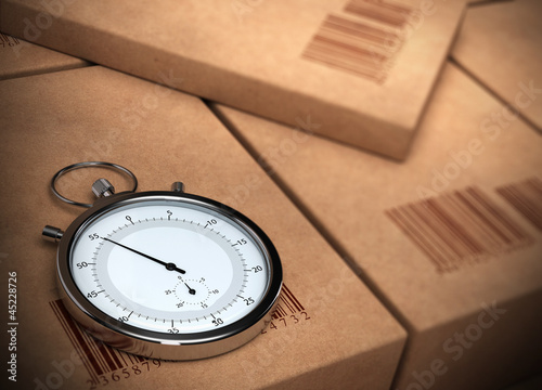 stopwatch over a carton background