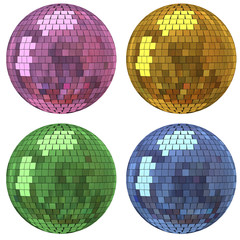 Set of disco mirror ball