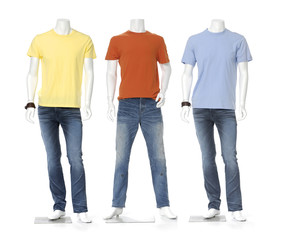 Male mannequin dressed in jeans with t-shirt isolated