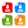 Vector click here square stickers set