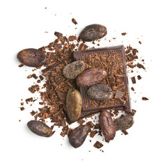 chocolate pieces with cocoa beans