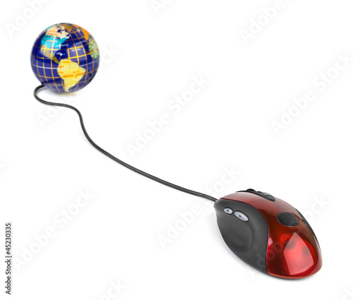 Computer mouse and globe