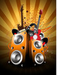 Colorful abstract musical background with loud speakers and guit