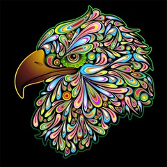 Eagle Hawk Psychedelic Design Aquila Falco Sparviero pop Art