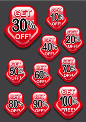 Get percent off, banners / labels / icons