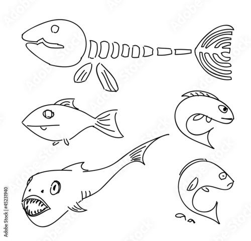Papiers peints Cartoon draw Humorous drawing fish.