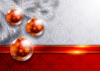 New Year background with red balls