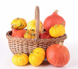 isolated pumpkin with wicker basket