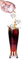 Fresh coke background with ice