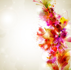 Vintage Abstract background with floral branch
