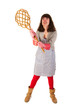 Housewife with carpet beater