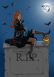Beautiful witch sitting on the tombstone