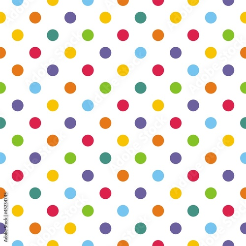 Fototapeta Seamless vector pattern or background with colorful polka dots