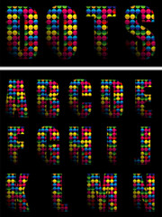 Alphabet Dots Color on Black Background