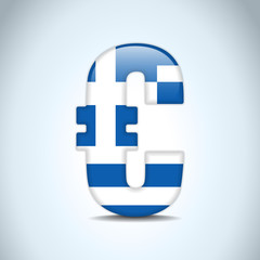 Euro Symbol with Greece Flag