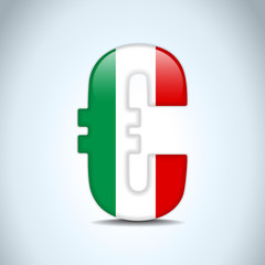 Euro Symbol with Italy Flag