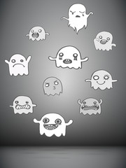 Set of 10 Cute Ghosts Stickers. Vector Image