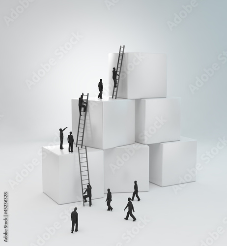 Tiny people climbing ladders