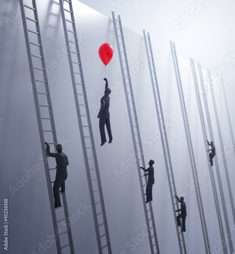 Tiny abstract people climbing ladders