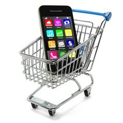 Smartphone mit Apps im Einkaufswagen