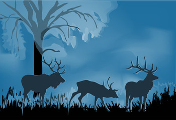 three deers silhouette in blue forest