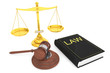 Justice gold scale, Law Book and wooden gavel