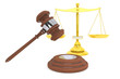 Justice gold scale and wooden gavel