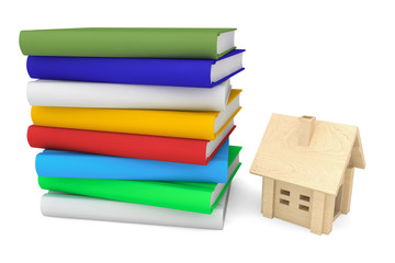 Books with wooden house