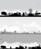 set of three country landscapes