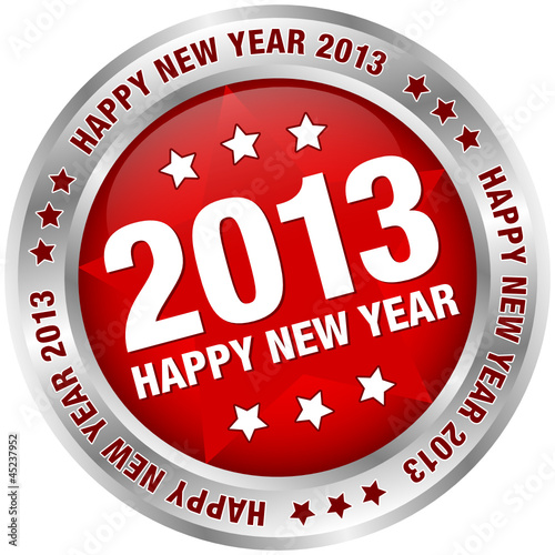"Button ""2013 - Happy New Year"" Red/Silver"