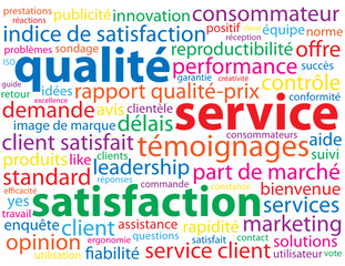 Nuage de Tags QUALITE - SERVICE - SATISFACTION (client garantie)