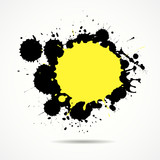 Yellow and black ink add text your space, vector