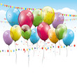 Colorful transparent balloons - birthday background