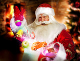 Santa Claus getting gifts and confection from his bag and showin poster