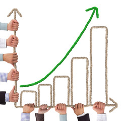 Business hands holding rope forming graph
