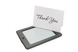 Touch e-reader with thank you card