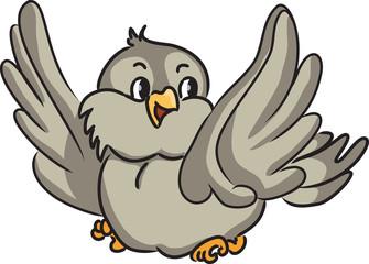 Cartoon bird. Vector illustration.