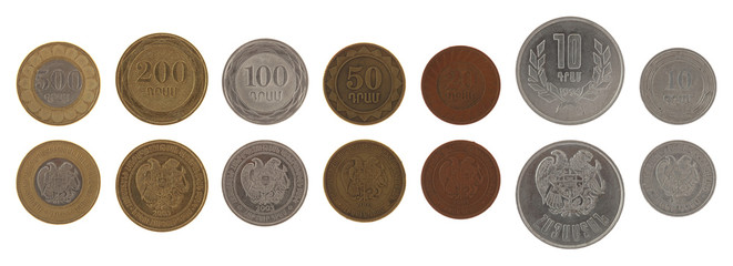 Armenian Coins Isolated on White