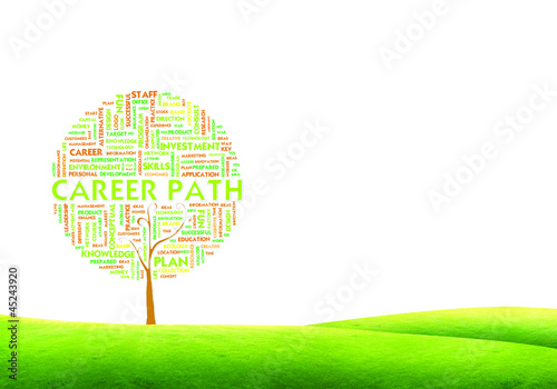 Tree word tag cloud business concept on ground grass background