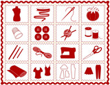 Sew, Tailor, Knit, Crochet, Craft, DIY Icons. Rickrack frame poster