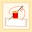 Sewing Label, Needle, Thread, Pattern Frame, copy space add name