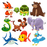 Fototapety Set of animals. Cartoon and vector isolated characters.