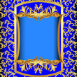 blue background  with gold(en) sample on background of the patte